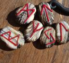 Pendant Runes Ivory black with red